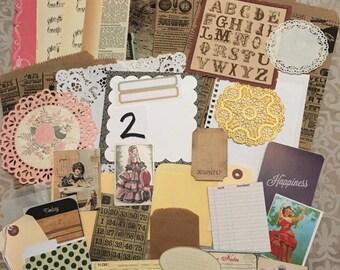 36 pc. paper, vintage type ephemera, travelers journal supplies, LOT2