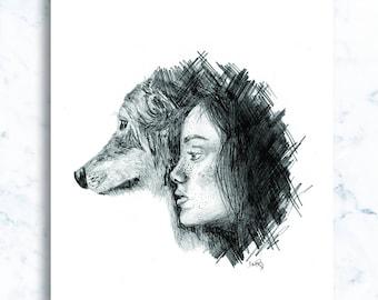 Pencil illustration, girls series - 'Jasmine'
