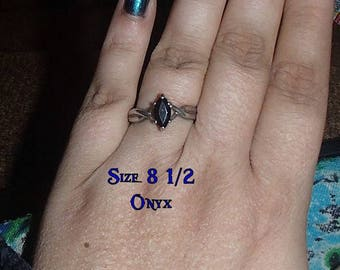 Vintage Avon Sterling Silver 925 Marquise Black Onyx Solitaire Ring Size 8.5