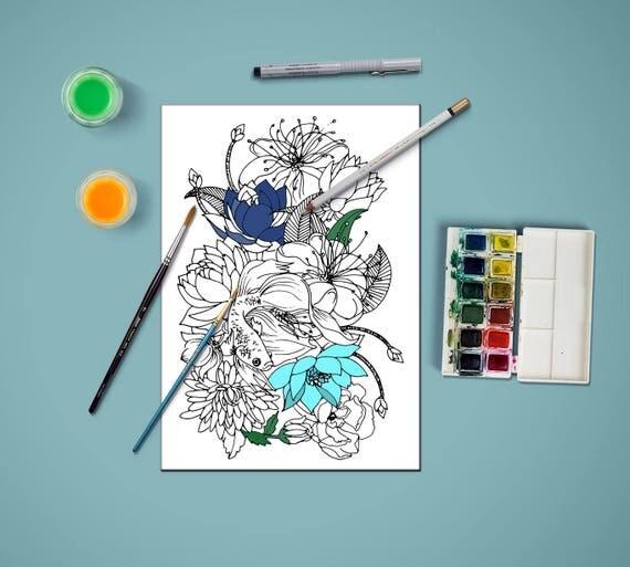 Malvorlagen für Erwachsene Blumen und Koi-Karpfen Färbung