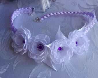 Crown of marriage in Ribbon with kanzashi/headband braid white and purple wedding flowers bridal satin/Crown