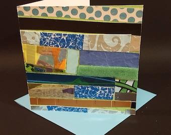 Handmade greeting card,Modern greeting card, Collage, Decoupage, Ready to frame greeting card, Greeting card as gift, OOAK greeting card