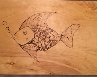 Wood burning of Zentangle Fish