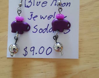 Purple Elephant Earrings