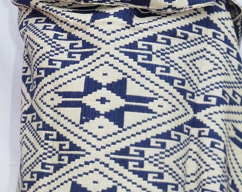 Blue and White Cotton Throw Blanket / Shawl or Wall Hanging / Hand spun cotton / Natural dyes / Hand-woven/
