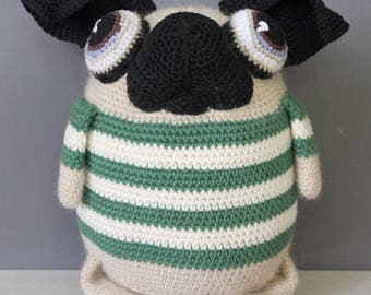 Green/natural striped • UkkEpUg • crocheted dog (pug)
