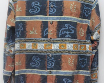 "90's Vintage ""THE TERRITORY AHEAD"" Long-Sleeve Abstract Patterned Shirt Sz: Large (Men's Exclusive)"