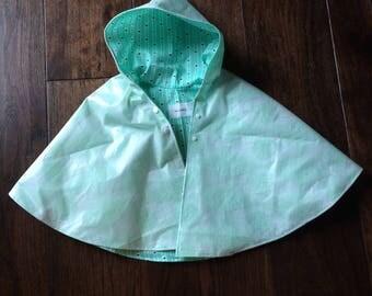 """Hooded Rain Poncho- Geo-""""mint""""-ric"""