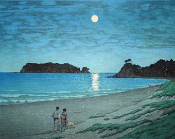 "Japanese Art Print ""Shichiri Beach in Soshu"" by Kawase Hasui, woodblock print reproduction, cultural art, landscape, moon, night, ocean"