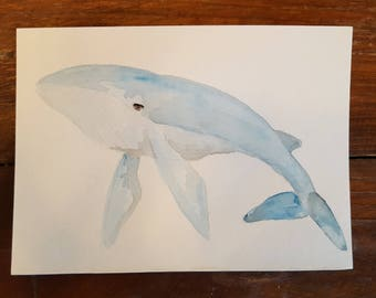 Basic Brenda the Blue Whale, Original Watercolor Painting
