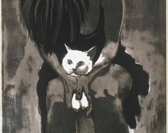 Woman with cat lithograph