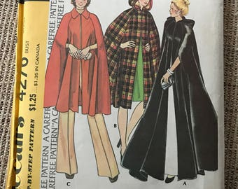 Vintage 1970's McCall's 4276 Sewing Pattern Women's Cape Small