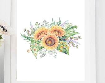 Printable Art Sunflower ,Sunflower Art Prints , Wall Art Prints, Wall Decor , instant download