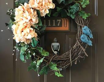 ALL YEAR ROUND Floral Wreath - Front Door Wreath - Wreath - Hydrangea - Front Door Decor - Home Decor - Patio Decor - Flower Wreath