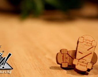 Skateboard Stud Earrings - Laser Cut Wood