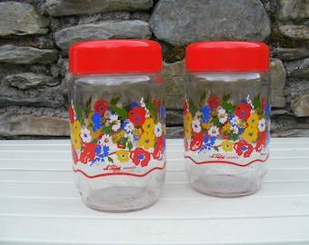 2x Vintage 1970s la parfair france glass storage jars