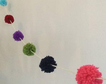 Multi colour pom-pom garland