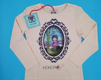 t-shirt girl - kid - pink - mini shopper - button - pin -  doll - bamboo - romantic - cameo - handmade - gift idea - kokoronaif tees