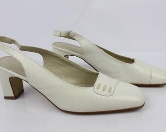 VINTAGE open shoes PEPE VARO Ecru leather