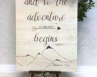 Wedding plate with decorating adventure natural wood wedding personalized plate