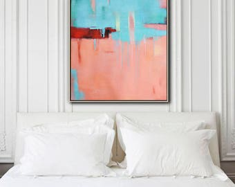 Large Contemporary painting on canvas, vertical contempoaray art, blue, pink, red. FREE shipping. Ethan Hill Art No.H34V