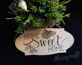 Home Sweet Home Wall Hanging Wood Burning Pyrography Art Wall Decor Heart Key Handmade Besqcraft Present With Love Gift