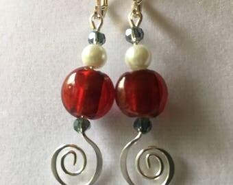 Whimsical Red, White & Blue Earrings