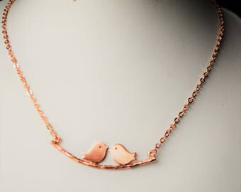 Necklace with rose gold plated brass branch ucellini handmade