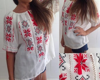 hand-embroidered blouse in red and black, Europeansize medium