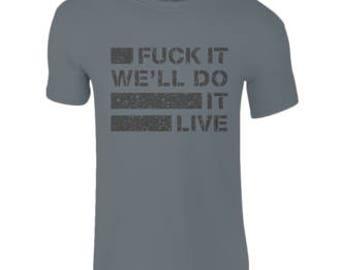 Mens & Ladies Fck It  T-Shirts Charcoal (Black Print)