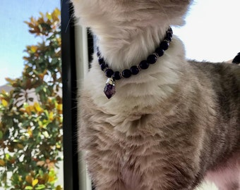 Crystal and Pearl Purple Cat Necklace