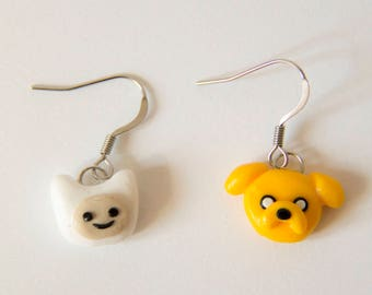 Adventure Time, Finn, Jake, earrings, Fimo, polymer clay, polymer clay earrings
