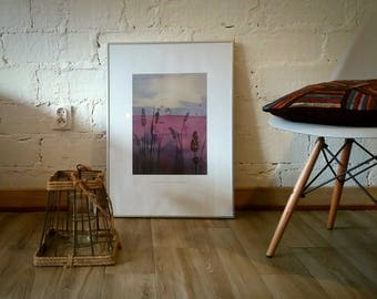 Watercolor painting print / Poster Lavandula angustifolia / Love nature