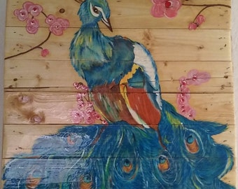 Hand-painted Peacock on Pallet