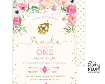 Ladybug Birthday Invitation / Lovebug Birthday Invitation / Ladybird Birthday Invitation / First Birthday Invitation / Woodland Girls
