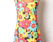 Vintage Club Kid 1990s Mini Dress Psychedelic Trippy Print Floral Rave Raver Grunge Clueless Hippie Boho Sundress Medium Large