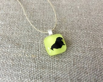 Walrus Pendant Glass Jewelry Necklace of Fused Glass by Happy Owl - arctic animal black on yellow cute kids jewelry