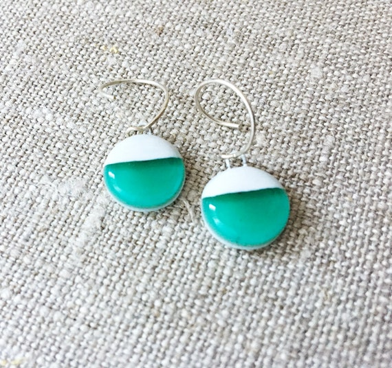 SALE Fused Glass Circle Color block Earrings - Fused Glass Geometric Dangle Earrings - Green and White Gem Earrings made of Glass