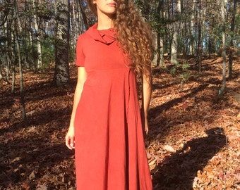 Follow your Heart Midi Length Hooded Dress in Organic Hemp Jersey (short sleeves). Made to order.