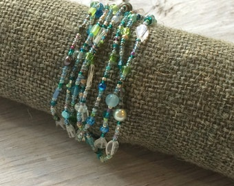 Beaded wrap bracelet, long seed bead necklace, blue green and clear quartz