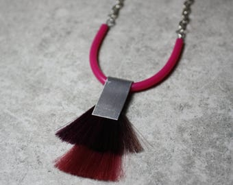 TRIB unisex necklace, aluminum rubber and hair, pink and red, bold statement jewelry