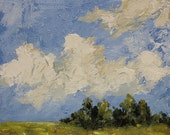 Blue Sky, Clouds, Trees, Fields,  Original Painting, Landscape Painting, Home Decor, Office Art, Gift, Winjimir, Wall Art, Square Painting