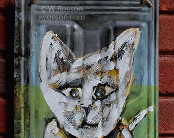Whimiscal Cat Painting, Vintage Metal, Rusted Metal, Cat Painting, Cat Art, Winjimir, Home Decor, Wall Hanging, Painting, Gift, Pets