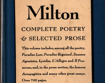 John Milton: Complete Poetry and Selected Prose - 1950 - Vintage Book