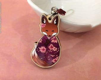 Wooden Fox Charm | Kitsune charm | cute animal | Pink Floral | Kawaii | Bag Charm