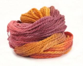 Bulky baby alpaca yarn, hand dyed chunky knitting crochet wool, Perran Yarns Sunset Party, pink orange plum, uk seller, yarn skein hank