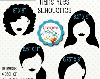 Hairstyles Silhouettes, Cutting Files, Ladies Silhouettes Clip Art, Clipart, Silhouettes, Girls Hairstyles Silhouette Clip Art, PNG, Ai, SVG