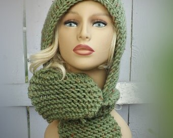 Hooded Knitted Scarf Pattern, Knitting Pattern, Knit Scarf Pattern, Knit Hood Pattern, Scodie Hooded Scarf Pattern