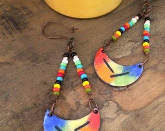 Artisan Enamel Earrings, Colorful Torch Fired Enamel on Copper, Island Inspired Contemporary Enamel and Glass Bead Earrings
