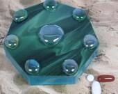 Green Swirl Pillbox--Large Septagon
